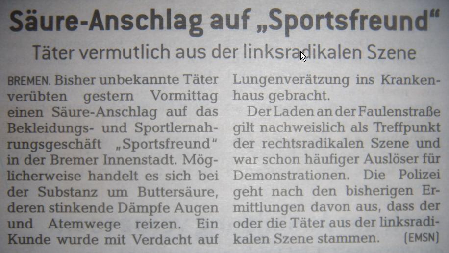 10.02.10 Bremer Anzeiger Titelseite - Säureanschlag auf den Sportsfreund